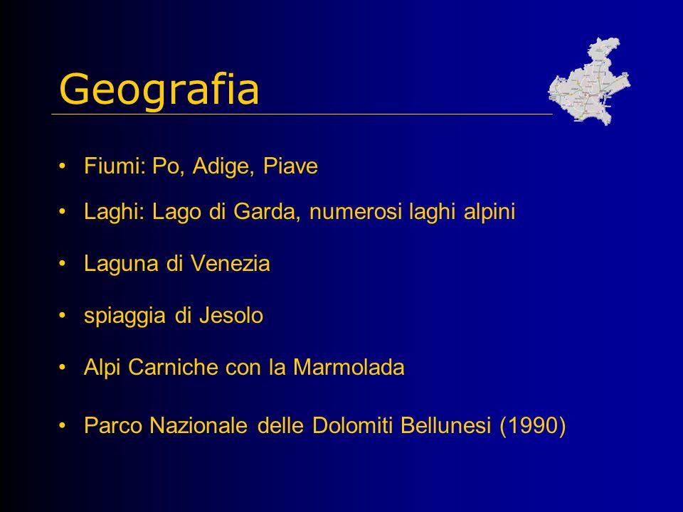 Geografia Fiumi: Po, Adige, Piave Laghi: Lago di Garda, numerosi laghi alpini Laguna di Venezia spiaggia di Jesolo Alpi Carniche con la Marmolada Parco Nazionale delle Dolomiti Bellunesi (1990)
