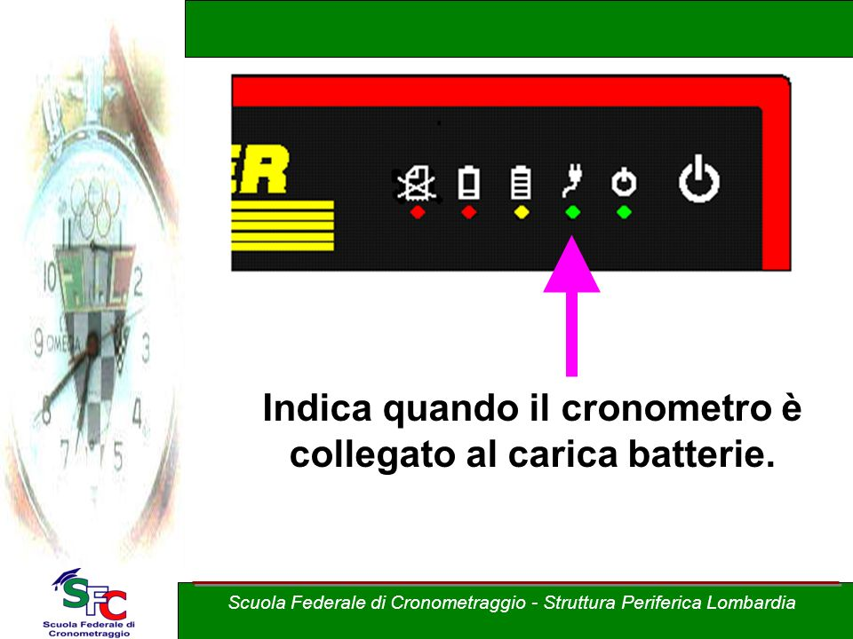 Indica quando il cronometro è collegato al carica batterie.