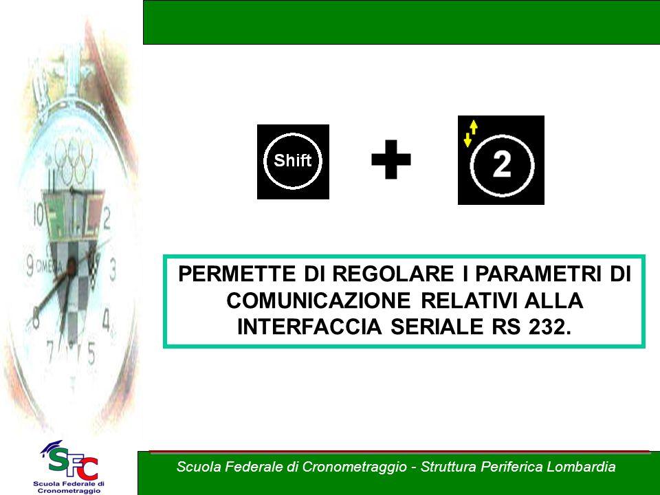 + PERMETTE DI REGOLARE I PARAMETRI DI COMUNICAZIONE RELATIVI ALLA INTERFACCIA SERIALE RS 232.