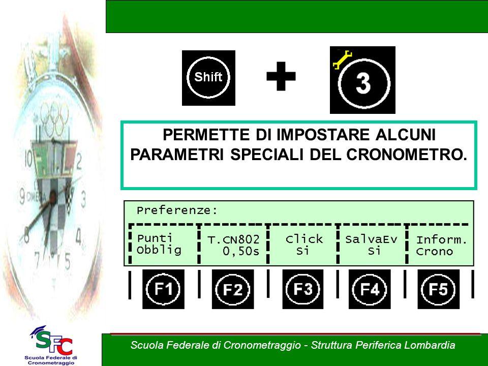 + PERMETTE DI IMPOSTARE ALCUNI PARAMETRI SPECIALI DEL CRONOMETRO.