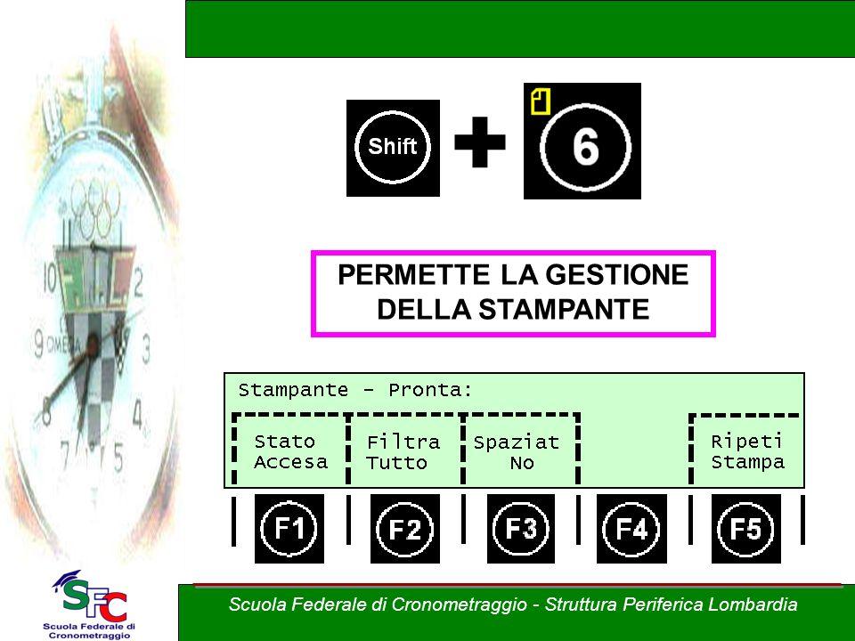 + PERMETTE LA GESTIONE DELLA STAMPANTE Scuola Federale di Cronometraggio - Struttura Periferica Lombardia