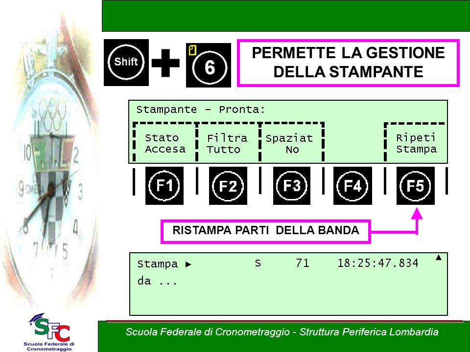 + PERMETTE LA GESTIONE DELLA STAMPANTE RISTAMPA PARTI DELLA BANDA Scuola Federale di Cronometraggio - Struttura Periferica Lombardia