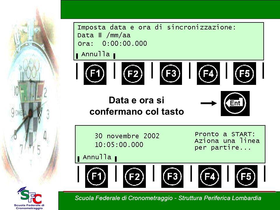 Data e ora si confermano col tasto Scuola Federale di Cronometraggio - Struttura Periferica Lombardia