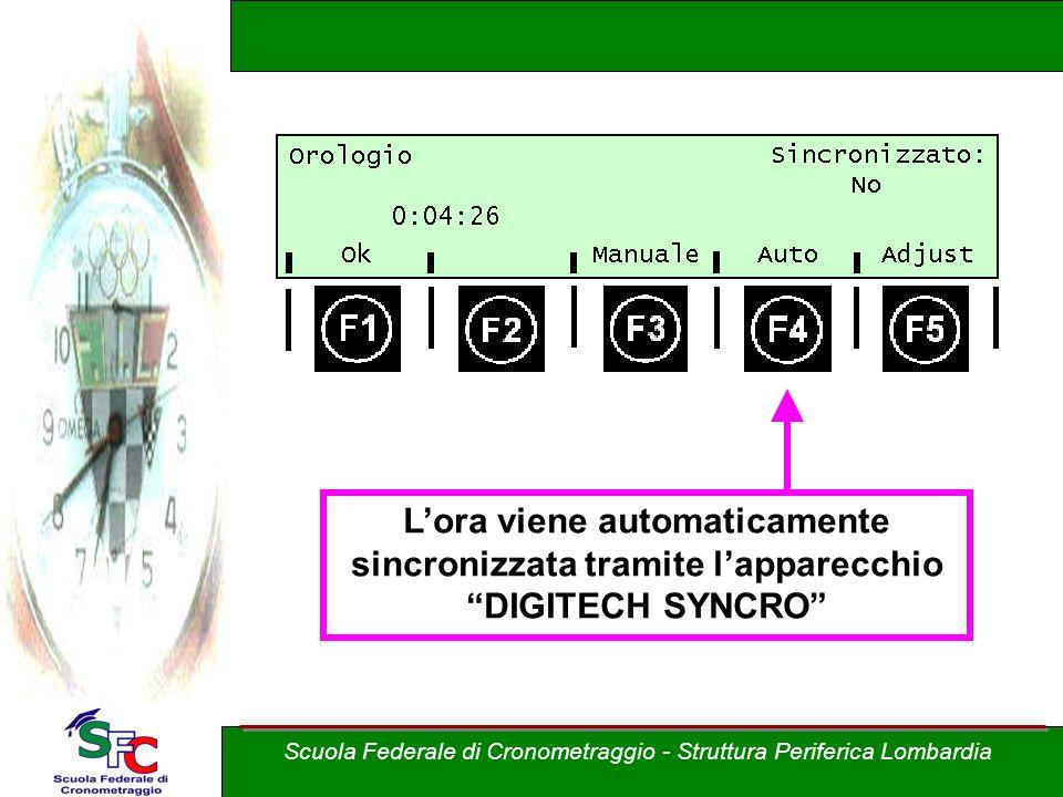 Lora viene automaticamente sincronizzata tramite lapparecchio DIGITECH SYNCRO Scuola Federale di Cronometraggio - Struttura Periferica Lombardia