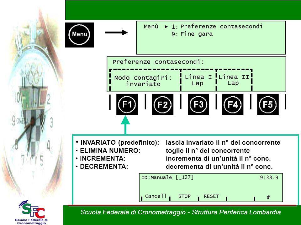 INVARIATO (predefinito): lascia invariato il n° del concorrente ELIMINA NUMERO:toglie il n° del concorrente INCREMENTA: incrementa di ununità il n° conc.