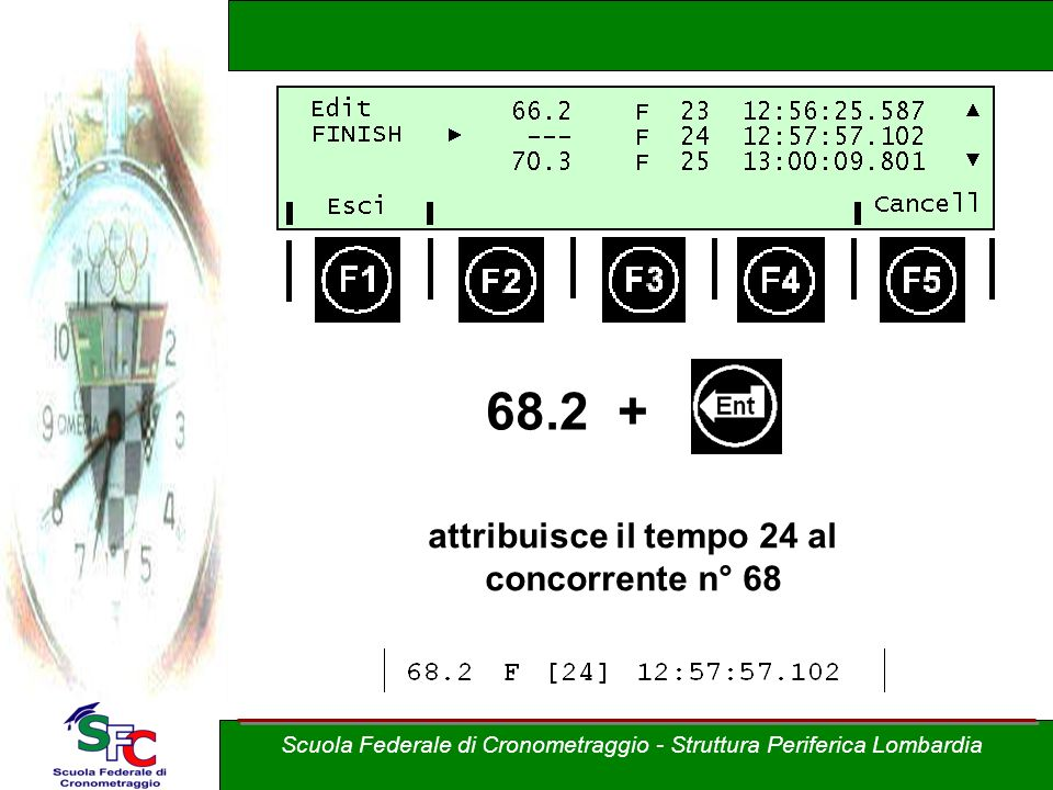 68.2 + attribuisce il tempo 24 al concorrente n° 68 Scuola Federale di Cronometraggio - Struttura Periferica Lombardia