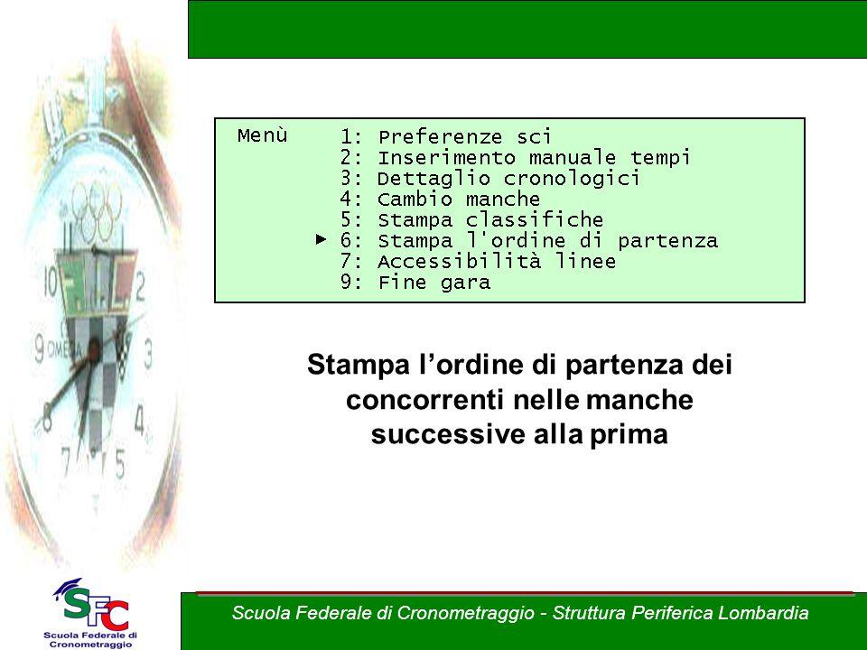 Stampa lordine di partenza dei concorrenti nelle manche successive alla prima Scuola Federale di Cronometraggio - Struttura Periferica Lombardia