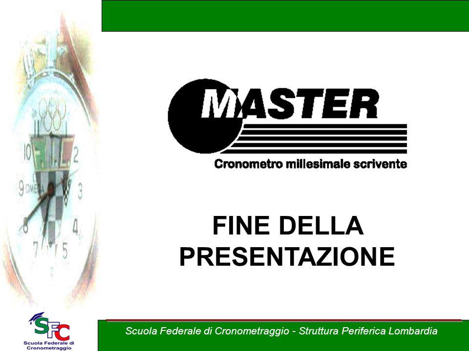 FINE DELLA PRESENTAZIONE Scuola Federale di Cronometraggio - Struttura Periferica Lombardia