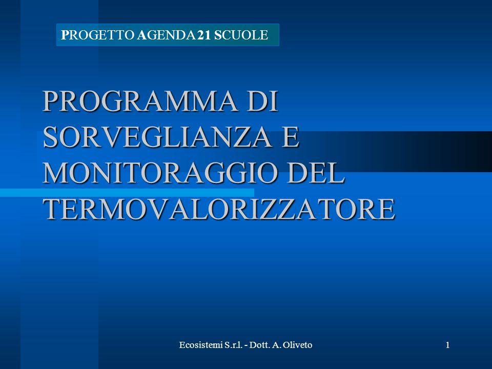 Ecosistemi S.r.l. - Dott. A. Oliveto1 PROGRAMMA DI SORVEGLIANZA E MONITORAGGIO DEL TERMOVALORIZZATORE PROGETTO AGENDA 21 SCUOLE