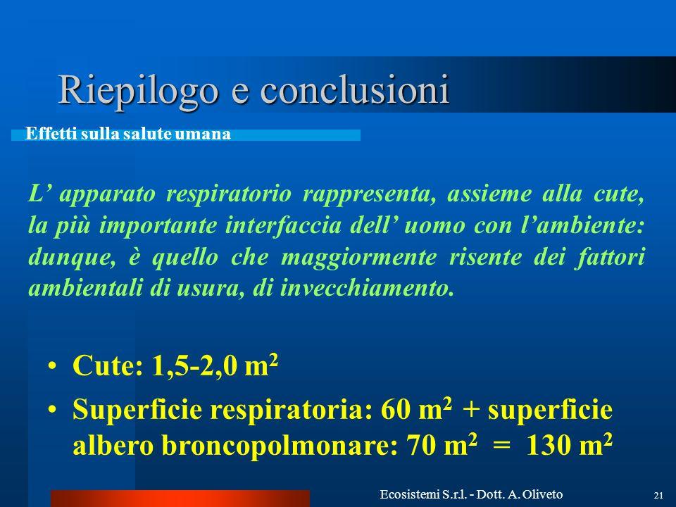 Ecosistemi S.r.l. - Dott. A. Oliveto 21 Riepilogo e conclusioni Effetti sulla salute umana L apparato respiratorio rappresenta, assieme alla cute, la