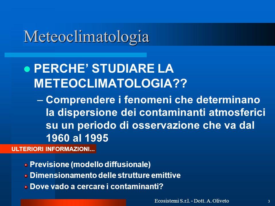 Ecosistemi S.r.l. - Dott. A. Oliveto 3 Meteoclimatologia PERCHE STUDIARE LA METEOCLIMATOLOGIA?? –Comprendere i fenomeni che determinano la dispersione