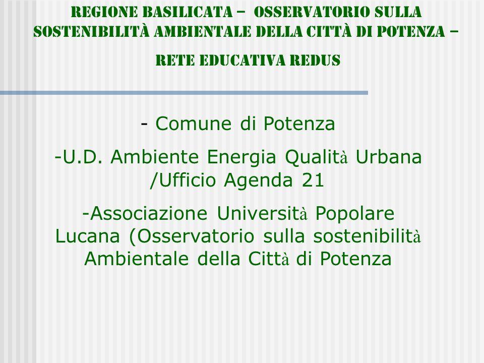 Regione Basilicata – Osservatorio sulla Sostenibilità Ambientale della Città di Potenza – Rete Educativa REDUS - Comune di Potenza -U.D. Ambiente Ener