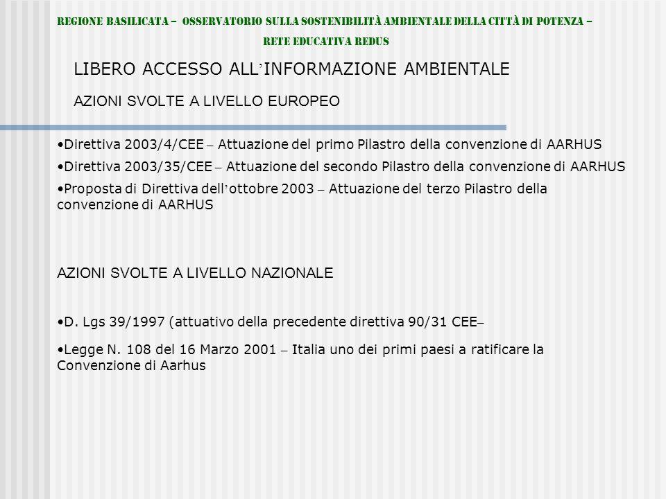 Regione Basilicata – Osservatorio sulla Sostenibilità Ambientale della Città di Potenza – Rete Educativa REDUS LIBERO ACCESSO ALL INFORMAZIONE AMBIENTALE Direttiva 2003/4/CEE – Attuazione del primo Pilastro della convenzione di AARHUS AZIONI SVOLTE A LIVELLO EUROPEO Direttiva 2003/35/CEE – Attuazione del secondo Pilastro della convenzione di AARHUS Proposta di Direttiva dell ottobre 2003 – Attuazione del terzo Pilastro della convenzione di AARHUS AZIONI SVOLTE A LIVELLO NAZIONALE D.