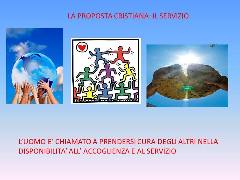 LA PROPOSTA CRISTIANA: IL SERVIZIO LUOMO E CHIAMATO A PRENDERSI CURA DEGLI ALTRI NELLA DISPONIBILITA ALL ACCOGLIENZA E AL SERVIZIO