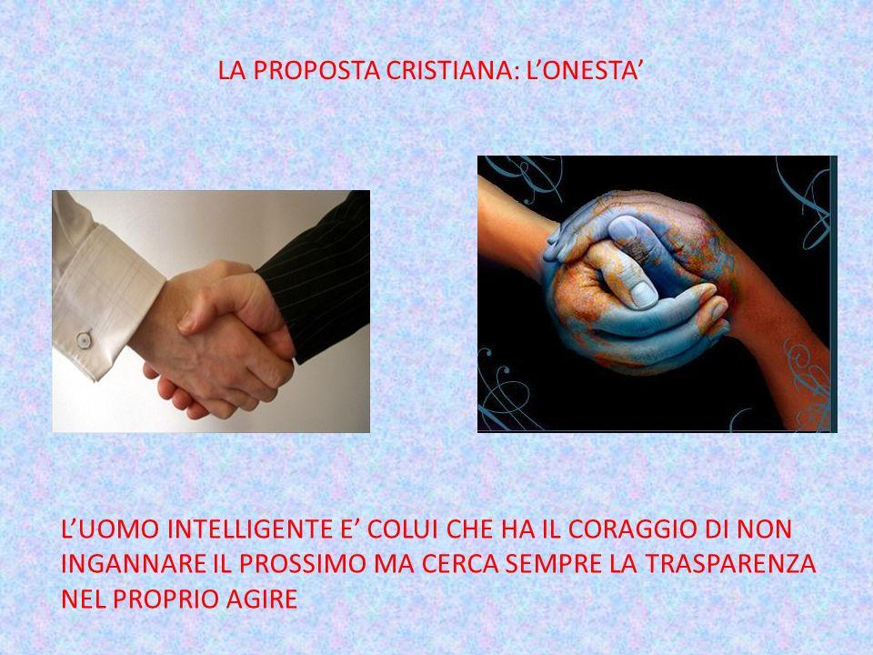 LA PROPOSTA CRISTIANA: LONESTA LUOMO INTELLIGENTE E COLUI CHE HA IL CORAGGIO DI NON INGANNARE IL PROSSIMO MA CERCA SEMPRE LA TRASPARENZA NEL PROPRIO A
