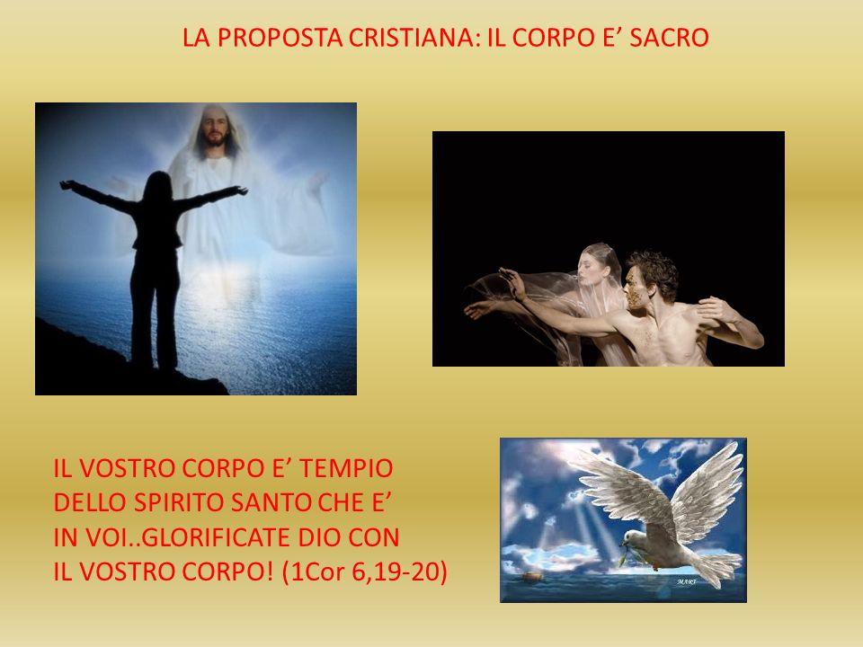 LA PROPOSTA CRISTIANA: IL CORPO E SACRO IL VOSTRO CORPO E TEMPIO DELLO SPIRITO SANTO CHE E IN VOI..GLORIFICATE DIO CON IL VOSTRO CORPO! (1Cor 6,19-20)