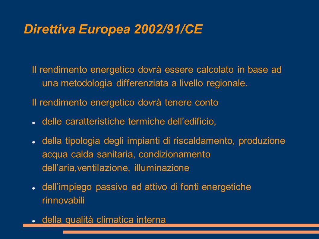 Direttiva Europea 2002/91/CE Il rendimento energetico dovrà essere calcolato in base ad una metodologia differenziata a livello regionale.
