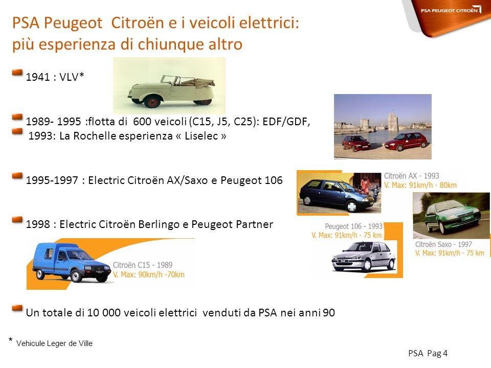 PSA Pag 4 PSA Peugeot Citroën e i veicoli elettrici: più esperienza di chiunque altro 1941 : VLV* 1989- 1995 :flotta di 600 veicoli (C15, J5, C25): EDF/GDF, 1993: La Rochelle esperienza « Liselec » 1995-1997 : Electric Citroën AX/Saxo e Peugeot 106 1998 : Electric Citroën Berlingo e Peugeot Partner Un totale di 10 000 veicoli elettrici venduti da PSA nei anni 90 * Vehicule Leger de Ville