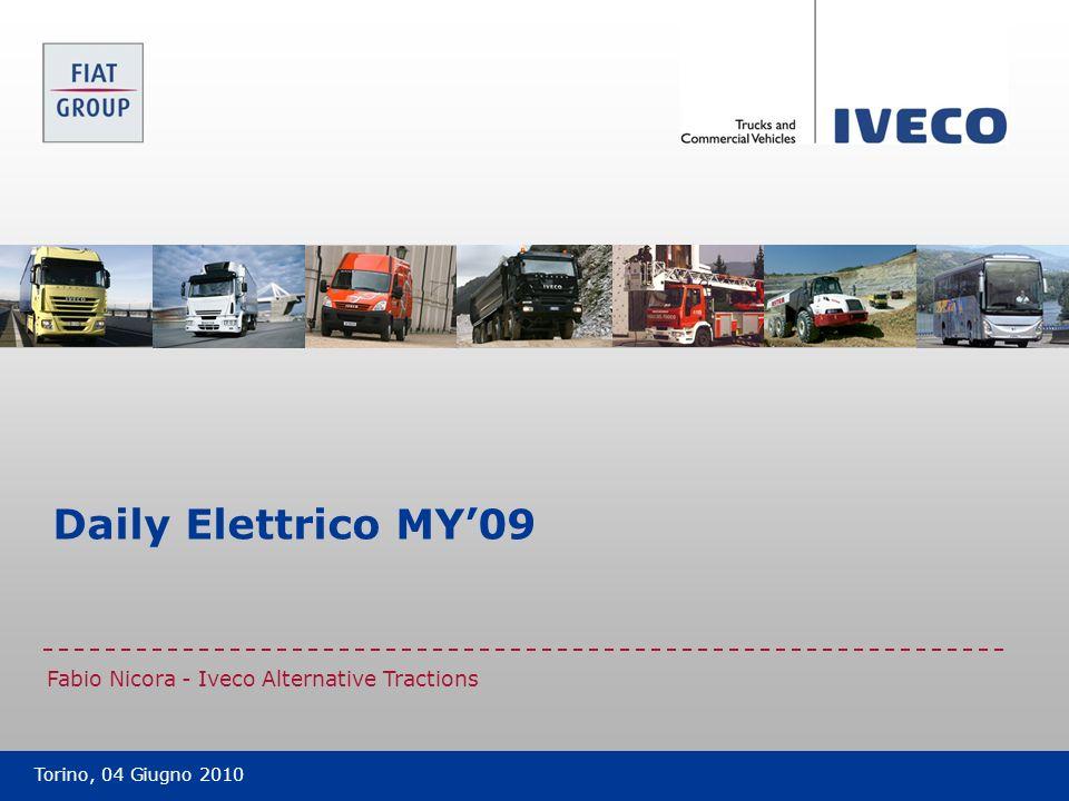 Filename Data classification: Public Daily Electric – Main components layout Batterie di trazione ZEBRA Motore elettrico Carica batteria Daily Electric MY09 12 Torino, 04 Giugno 2010