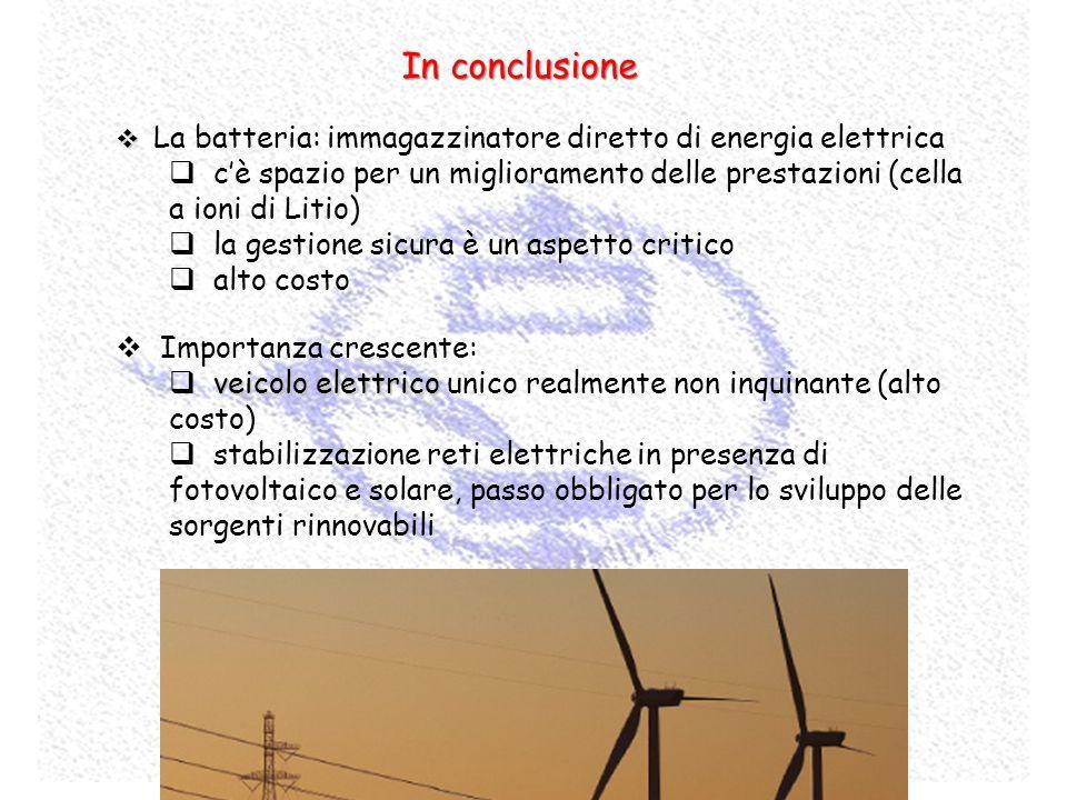 La batteria: immagazzinatore diretto di energia elettrica cè spazio per un miglioramento delle prestazioni (cella a ioni di Litio) la gestione sicura
