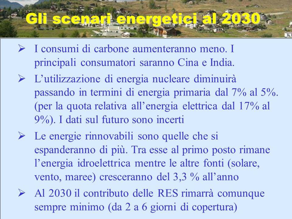 Gli scenari energetici al 2030 I consumi di carbone aumenteranno meno. I principali consumatori saranno Cina e India. Lutilizzazione di energia nuclea