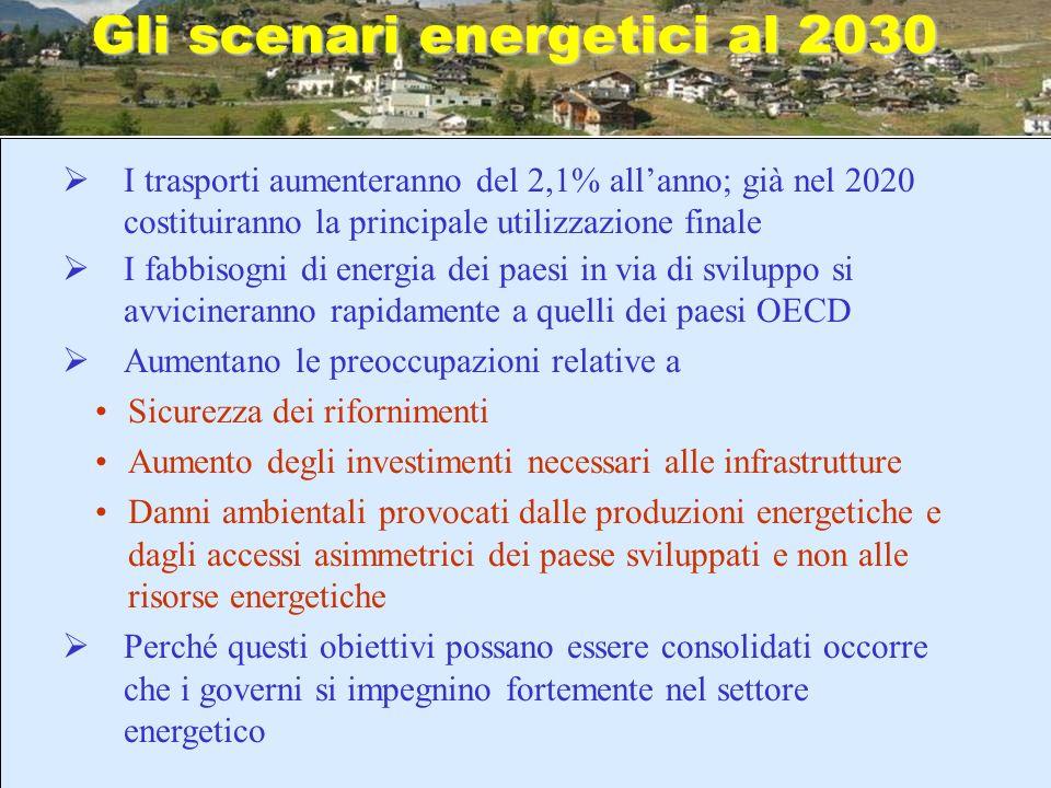 Gli scenari energetici al 2030 I trasporti aumenteranno del 2,1% allanno; già nel 2020 costituiranno la principale utilizzazione finale I fabbisogni d