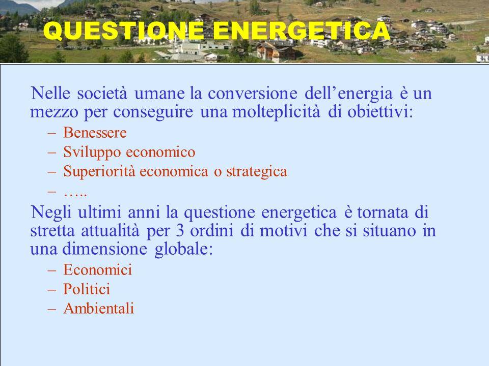 Nelle società umane la conversione dellenergia è un mezzo per conseguire una molteplicità di obiettivi: –Benessere –Sviluppo economico –Superiorità ec