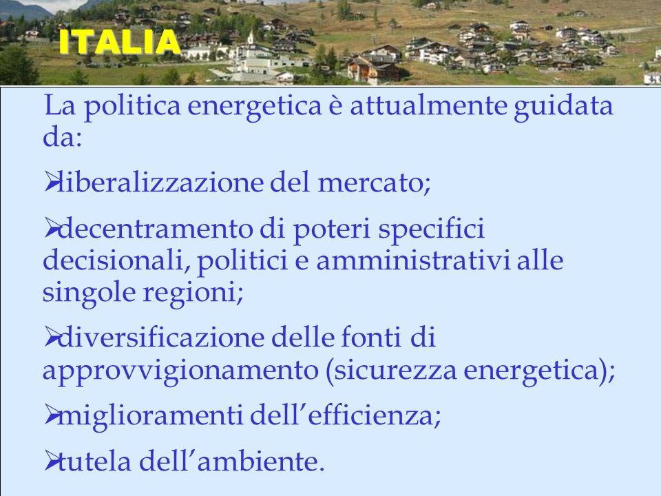 ITALIA La politica energetica è attualmente guidata da: liberalizzazione del mercato; decentramento di poteri specifici decisionali, politici e ammini