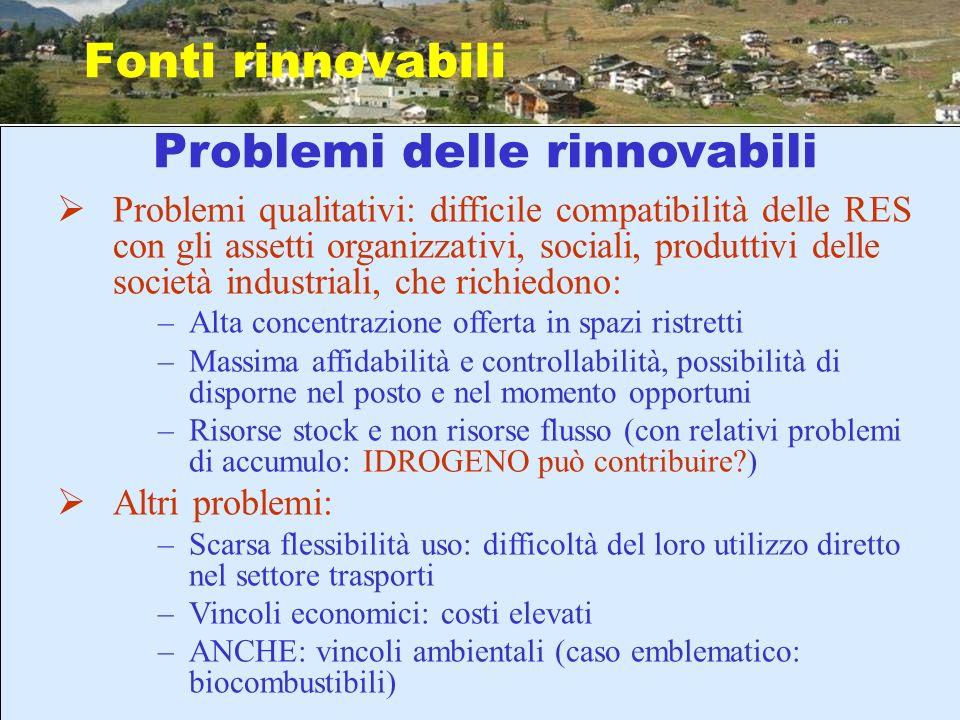 Problemi delle rinnovabili Fonti rinnovabili Problemi qualitativi: difficile compatibilità delle RES con gli assetti organizzativi, sociali, produttiv