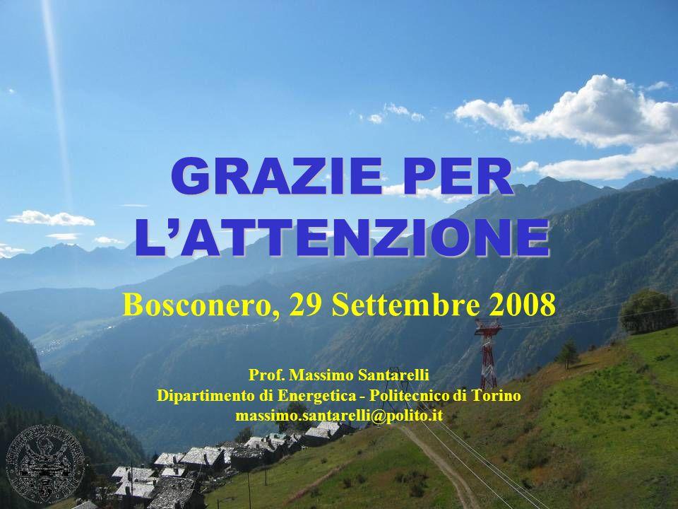 GRAZIE PER LATTENZIONE Bosconero, 29 Settembre 2008 Prof. Massimo Santarelli Dipartimento di Energetica - Politecnico di Torino massimo.santarelli@pol