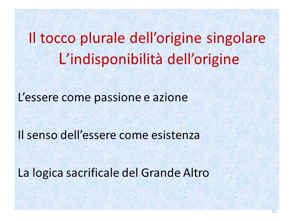 Il tocco plurale dellorigine singolare L indisponibilità dellorigine Lessere come passione e azione Il senso dellessere come esistenza La logica sacrificale del Grande Altro 21
