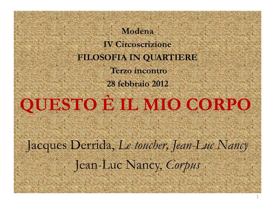 Modena IV Circoscrizione FILOSOFIA IN QUARTIERE Terzo incontro 28 febbraio 2012 QUESTO È IL MIO CORPO Jacques Derrida, Le toucher, Jean-Luc Nancy Jean