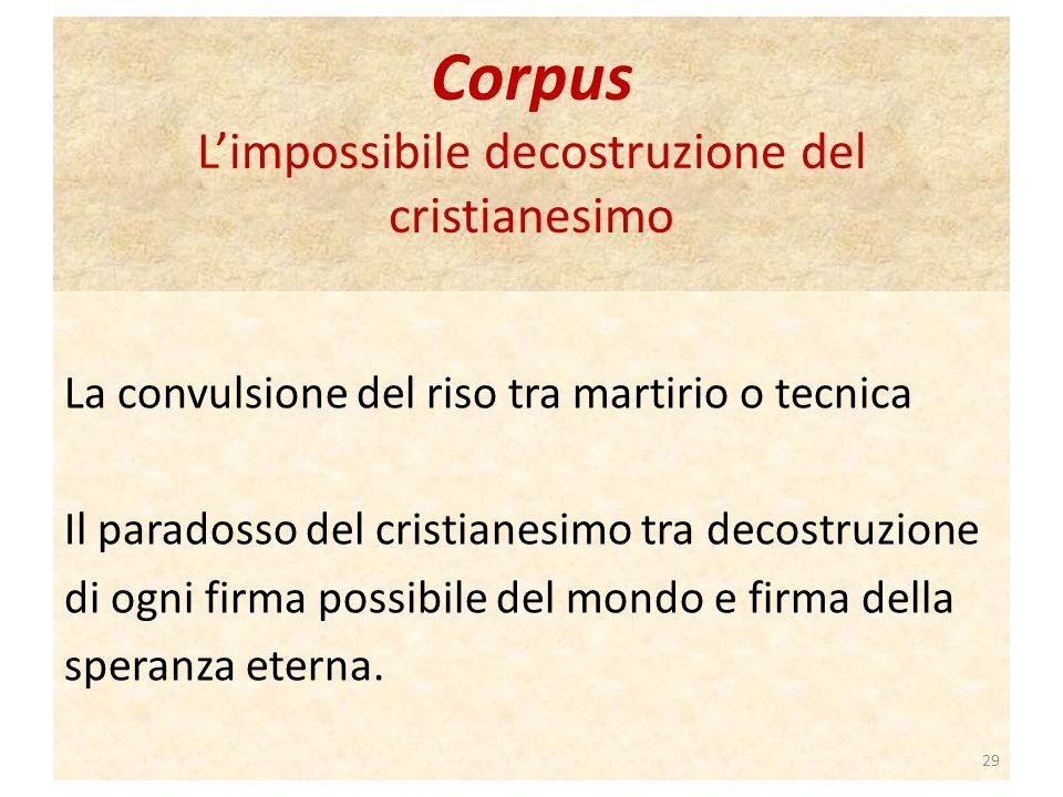 Corpus Limpossibile decostruzione del cristianesimo La convulsione del riso tra martirio o tecnica Il paradosso del cristianesimo tra decostruzione di