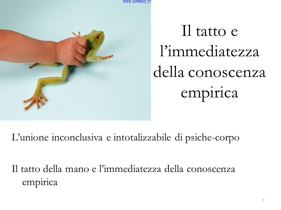 Il tatto e limmediatezza della conoscenza empirica Lunione inconclusiva e intotalizzabile di psiche-corpo Il tatto della mano e limmediatezza della co