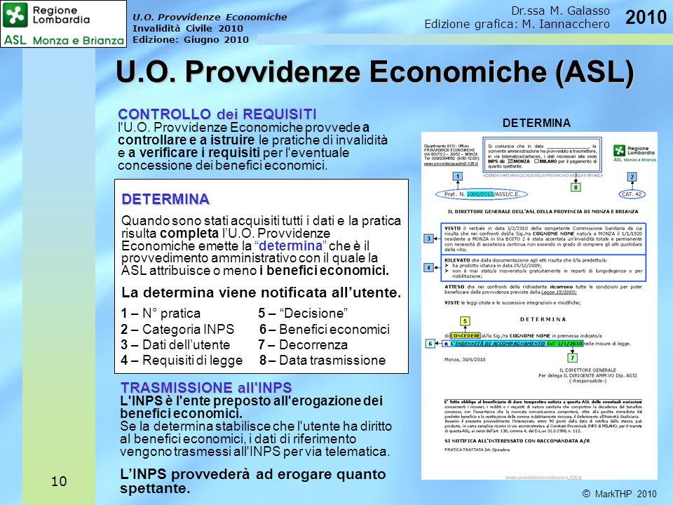 U.O. Provvidenze Economiche Invalidità Civile 2010 Edizione: Giugno 2010 © MarkTHP 2010 Dr.ssa M. Galasso Edizione grafica: M. Iannacchero 2010 10 CON