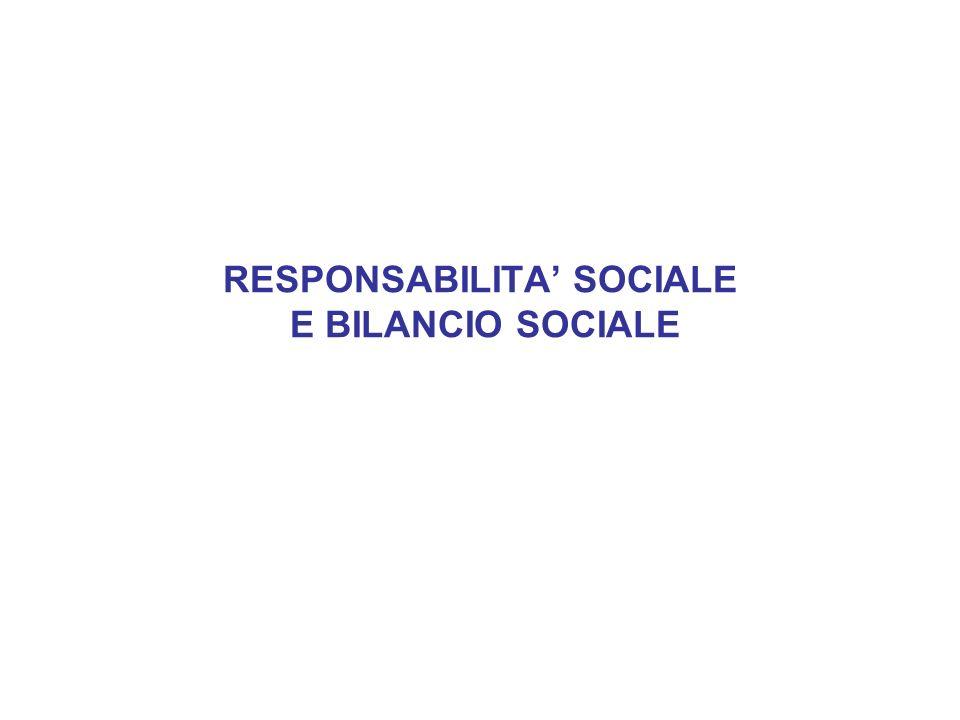 RESPONSABILITA SOCIALE E BILANCIO SOCIALE