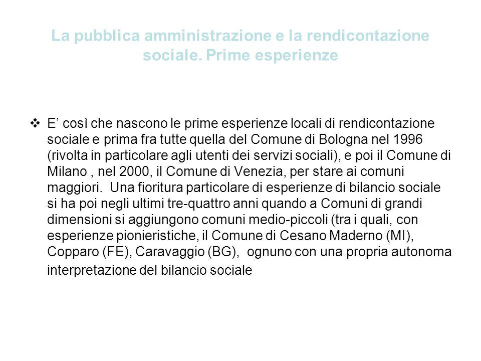 La pubblica amministrazione e la rendicontazione sociale. Prime esperienze E così che nascono le prime esperienze locali di rendicontazione sociale e