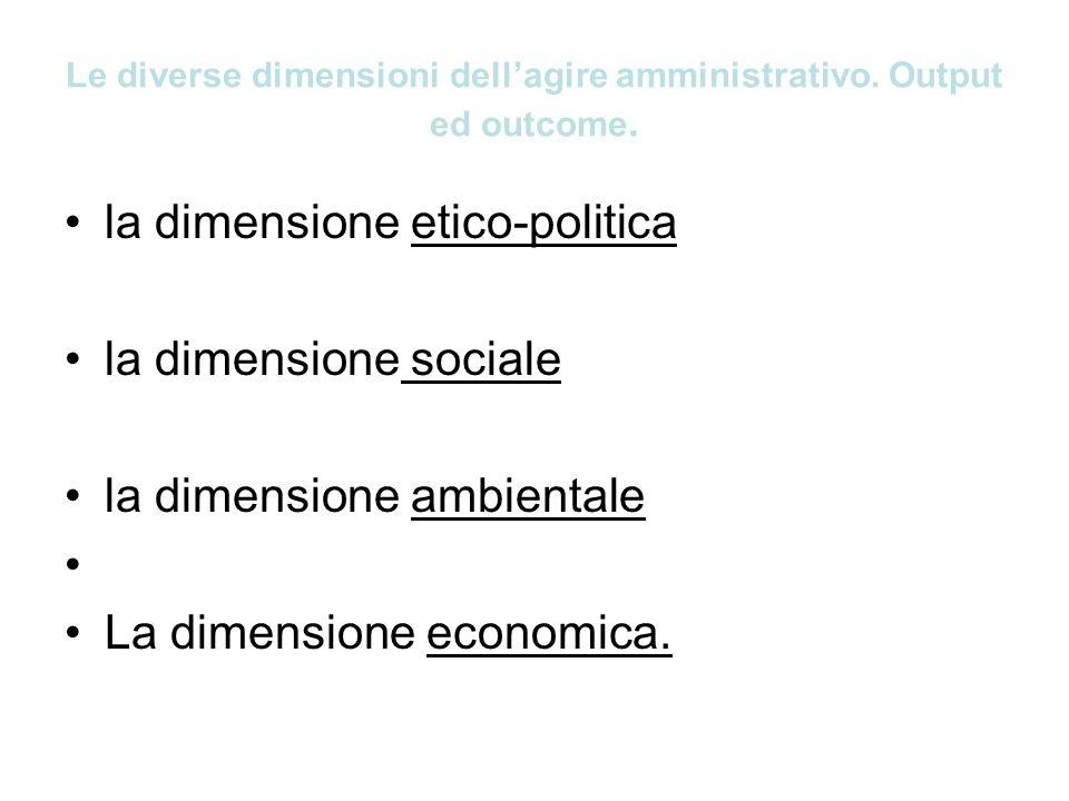 Le diverse dimensioni dellagire amministrativo. Output ed outcome. la dimensione etico-politica la dimensione sociale la dimensione ambientale La dime