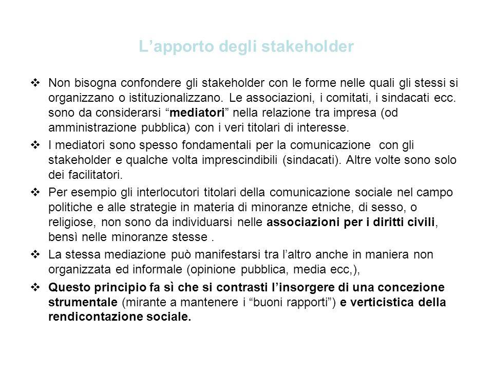Lapporto degli stakeholder Non bisogna confondere gli stakeholder con le forme nelle quali gli stessi si organizzano o istituzionalizzano. Le associaz