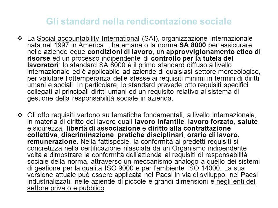 Gli standard nella rendicontazione sociale La Social accountability International (SAI), organizzazione internazionale nata nel 1997 in America, ha em