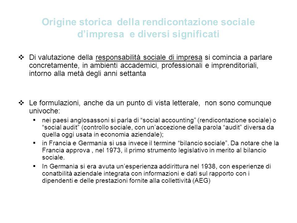 Origine storica della rendicontazione sociale dimpresa e diversi significati Di valutazione della responsabilità sociale di impresa si comincia a parl