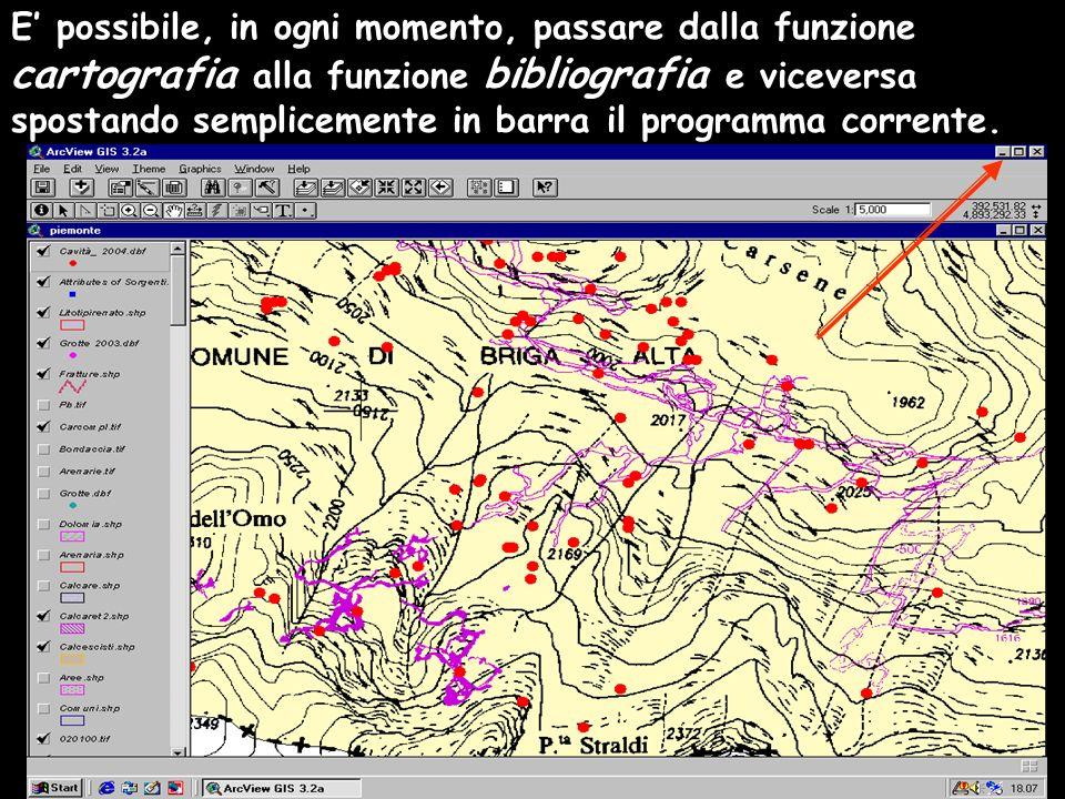 E possibile, in ogni momento, passare dalla funzione cartografia alla funzione bibliografia e viceversa spostando semplicemente in barra il programma corrente.