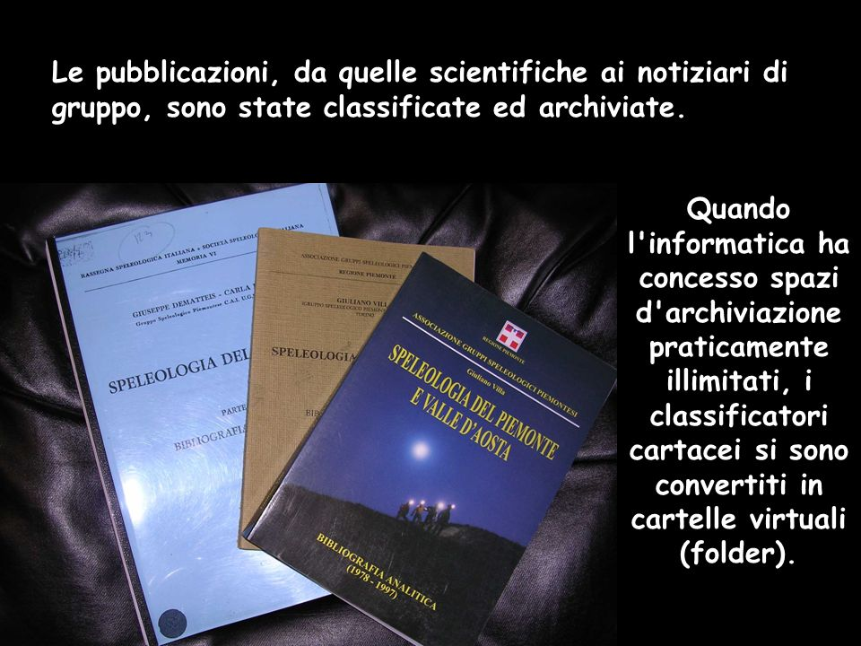 Quando l informatica ha concesso spazi d archiviazione praticamente illimitati, i classificatori cartacei si sono convertiti in cartelle virtuali (folder).