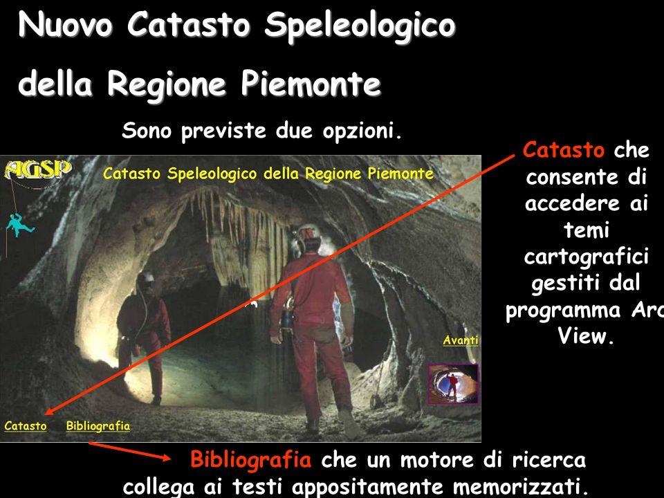 Nuovo Catasto Speleologico della Regione Piemonte Sono previste due opzioni.