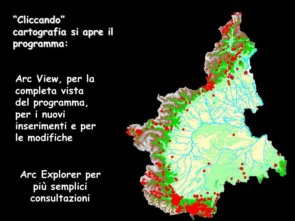 Cliccando cartografia si apre il programma: Arc View, per la completa vista del programma, per i nuovi inserimenti e per le modifiche Arc Explorer per più semplici consultazioni