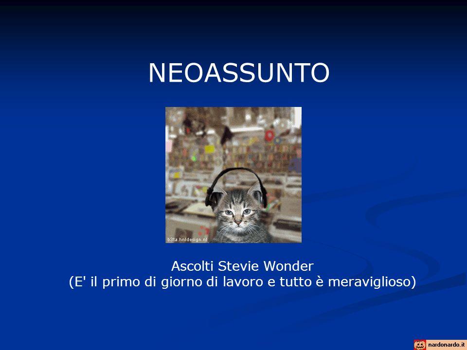 NEOASSUNTO Ascolti Stevie Wonder (E' il primo di giorno di lavoro e tutto è meraviglioso)