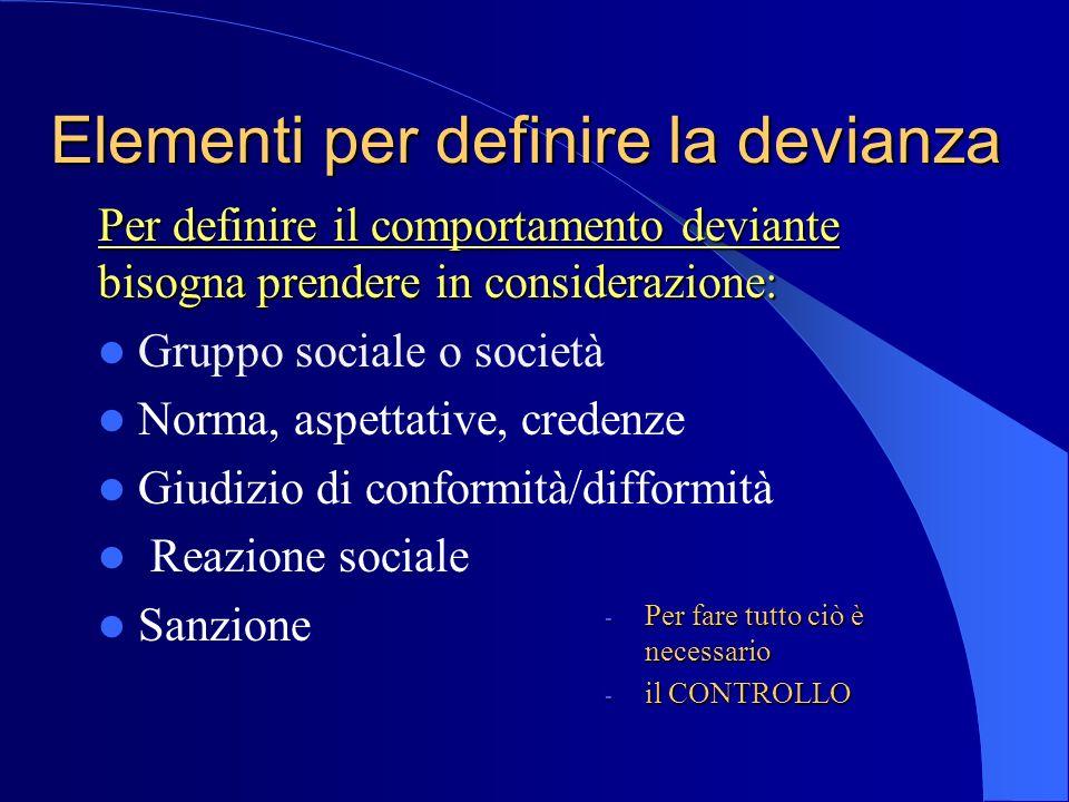 - Per fare tutto ciò è necessario - il CONTROLLO Elementi per definire la devianza Per definire il comportamento deviante bisogna prendere in consider