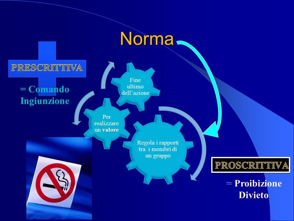 Regola i rapporti tra i membri di un gruppo valore Per realizzare un valore Fine ultimo dellazione Norma = Proibizione Divieto = Comando Ingiunzione