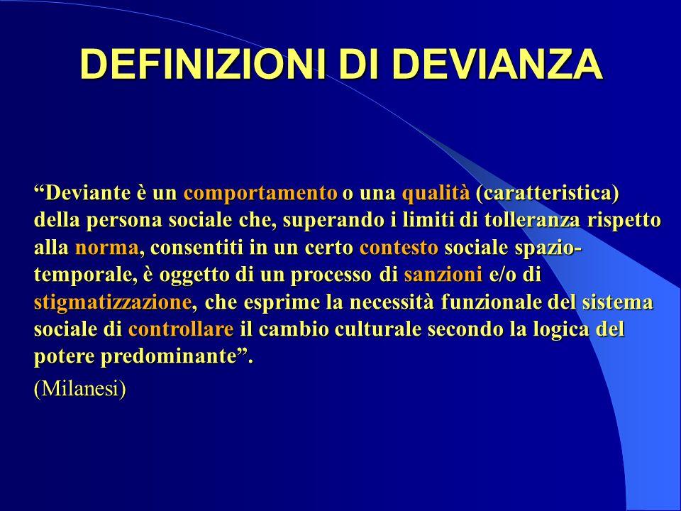 DEFINIZIONI DI DEVIANZA Deviante è un comportamento o una qualità (caratteristica) della persona sociale che, superando i limiti di tolleranza rispett