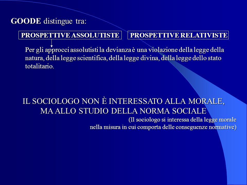 IL SOCIOLOGO NON È INTERESSATO ALLA MORALE, MA ALLO STUDIO DELLA NORMA SOCIALE (Il sociologo si interessa della legge morale nella misura in cui compo